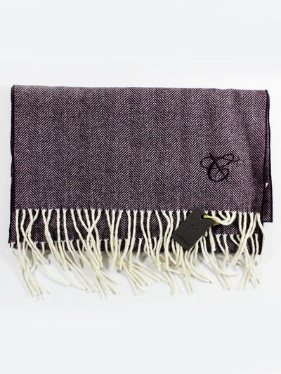 Canali Angora Wool Scarf Solid Purple Light Gray FINAL SALE