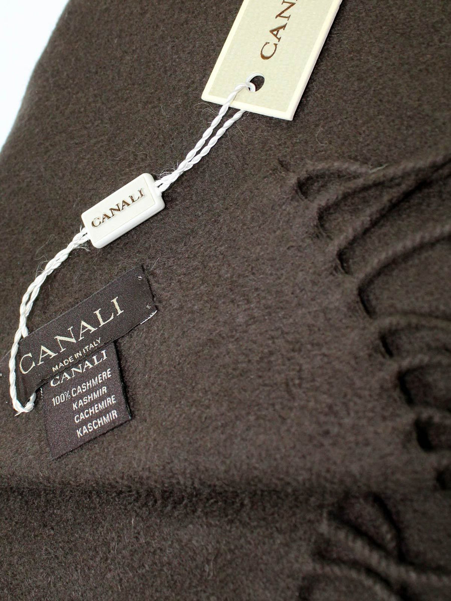Canali Cashmere Scarf Solid Brown SALE