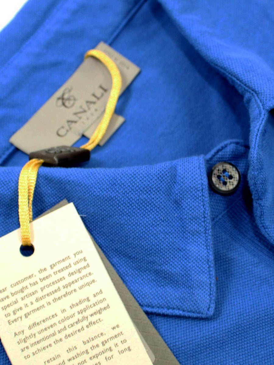 Canali Polo Shirt Royal Blue Cotton Short Sleeve Polo Shirt