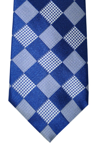 Canali Tie Royal Blue Silver Squares Check SALE