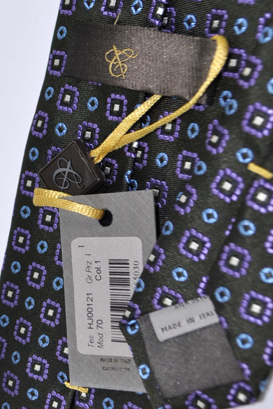 Canali Tie Dark Gray Blue Purple Geometric