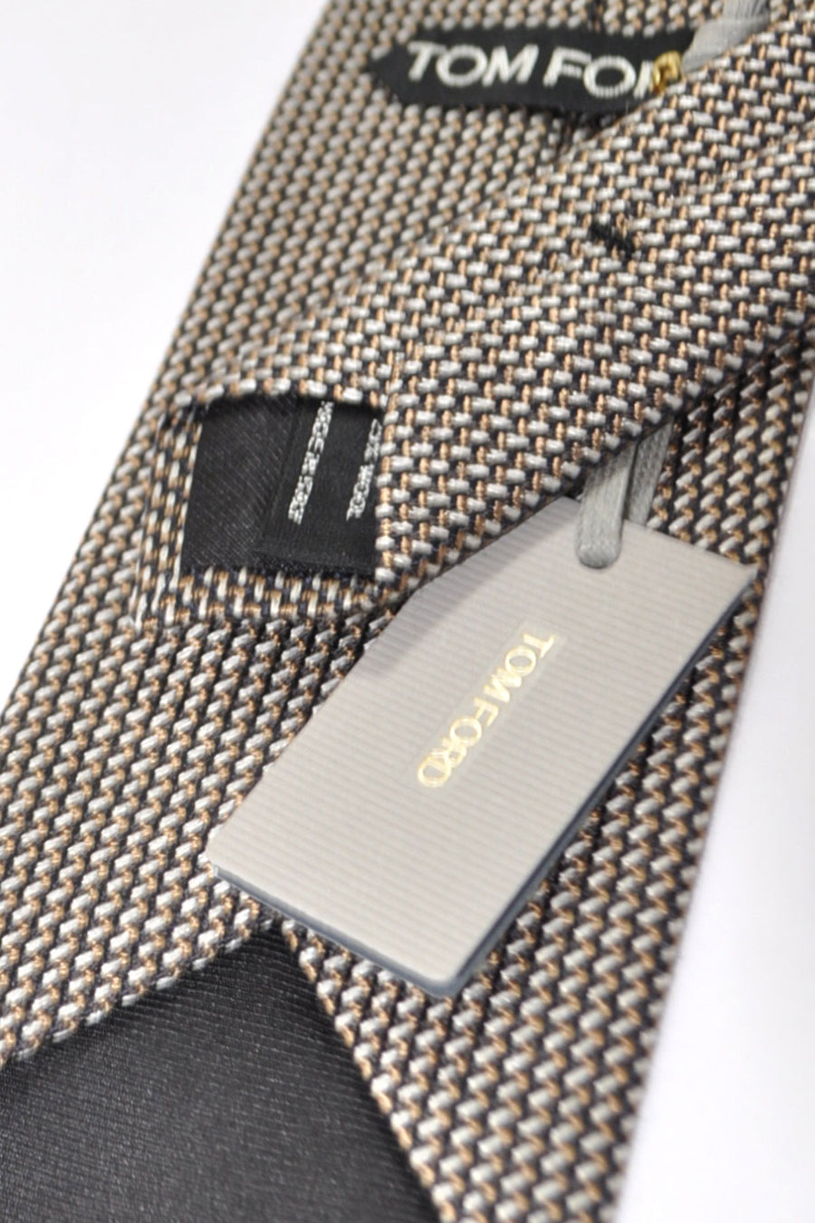 Tom Ford Tie Taupe Silver Black Design