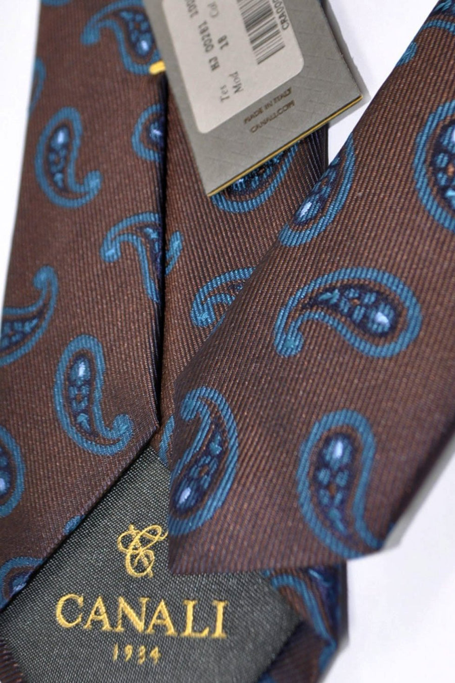 Canali Silk Tie Brown Teal Paisley Design FINAL SALE