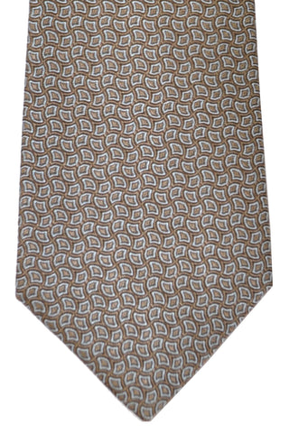Canali Tie Taupe Gray Geometric