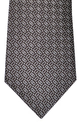Canali Tie Dark Brown Silver Geometric
