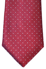 Canali Tie Red Silver Geometric