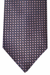 Canali Tie Midnight Blue Pink Brown Geometric