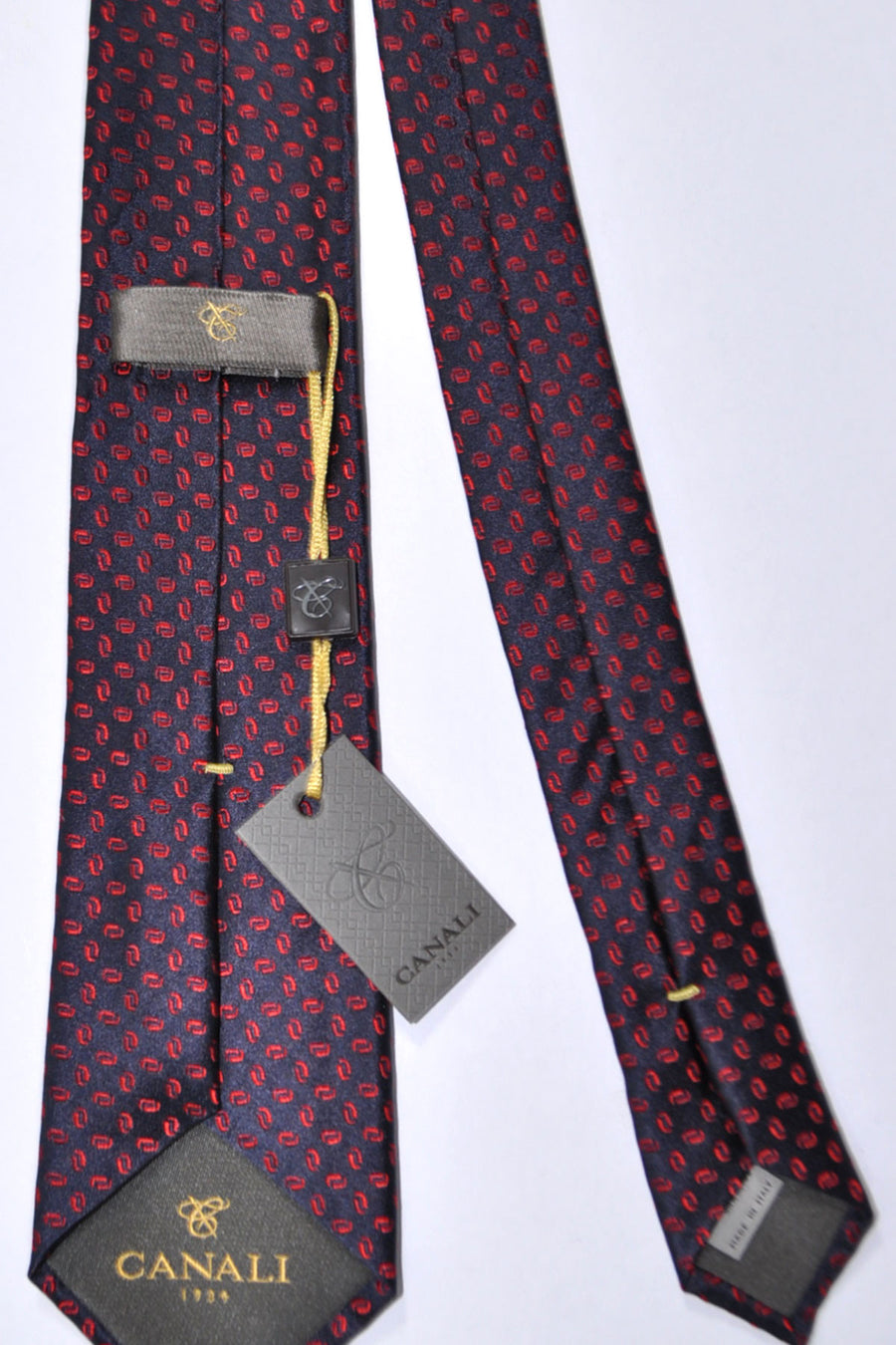 Canali Tie Dark Navy Red Geometric