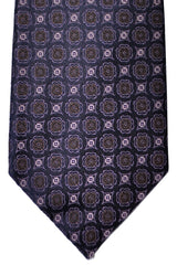 Canali Tie Dark Purple Brown Geometric