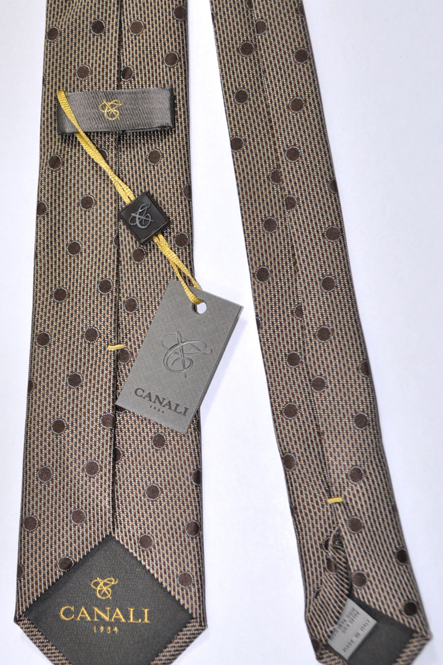 Canali Tie Brown Silver Polka Dots