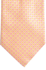 Canali Silk Tie Pink Silver Orange Geometric - Wide Necktie
