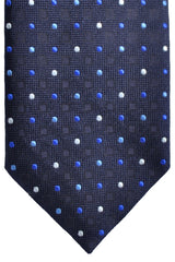 Canali Tie Navy Royal Blue White Dots Design