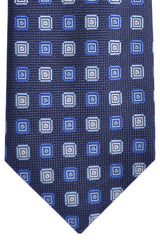 Canali Tie Navy Royal Blue Gray Geometric Design