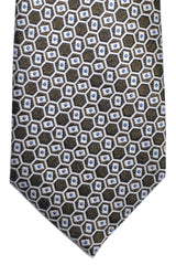 Canali Silk Tie Gray Silver Brown Geometric