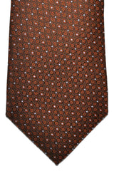 Canali Silk Tie Brown Silver Geometric