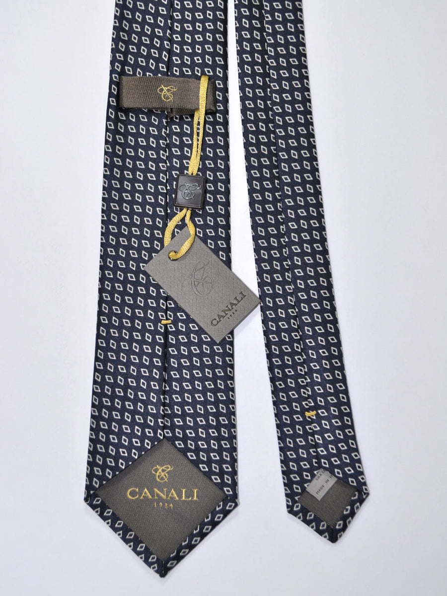 Canali Silk Tie Dark Navy Silver Diamonds