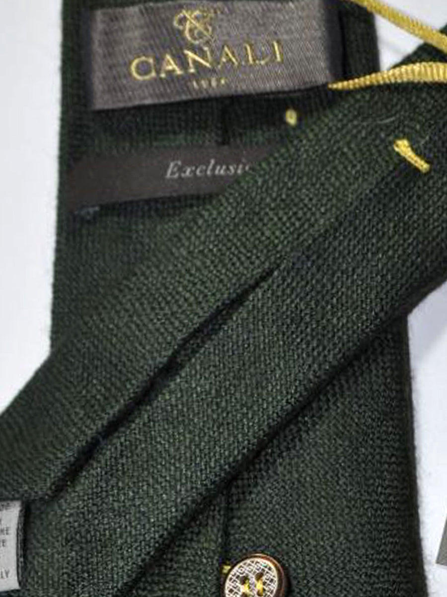 Canali Sevenfold Tie Dark Green Weave Cashmere Silk Exclusive Collection