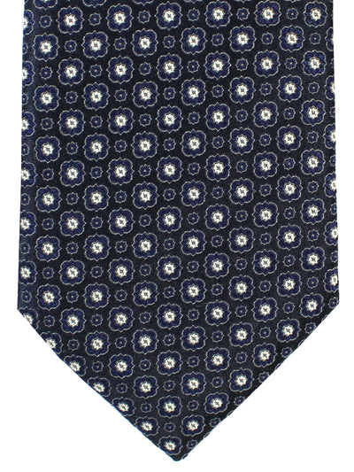 Canali Silk Necktie Black Gray Geometric