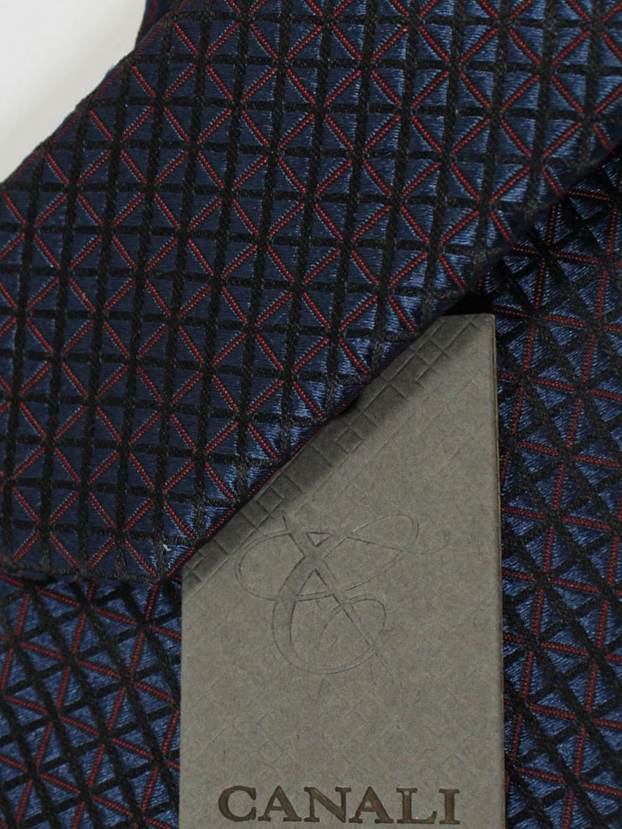 Canali Silk Necktie Gray Burgundy Check