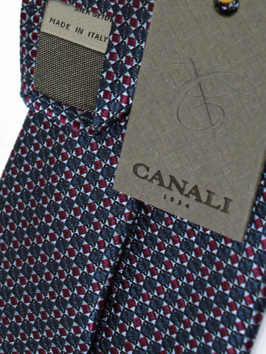 Canali Silk Necktie Midnight Blue Burgundy Geometric
