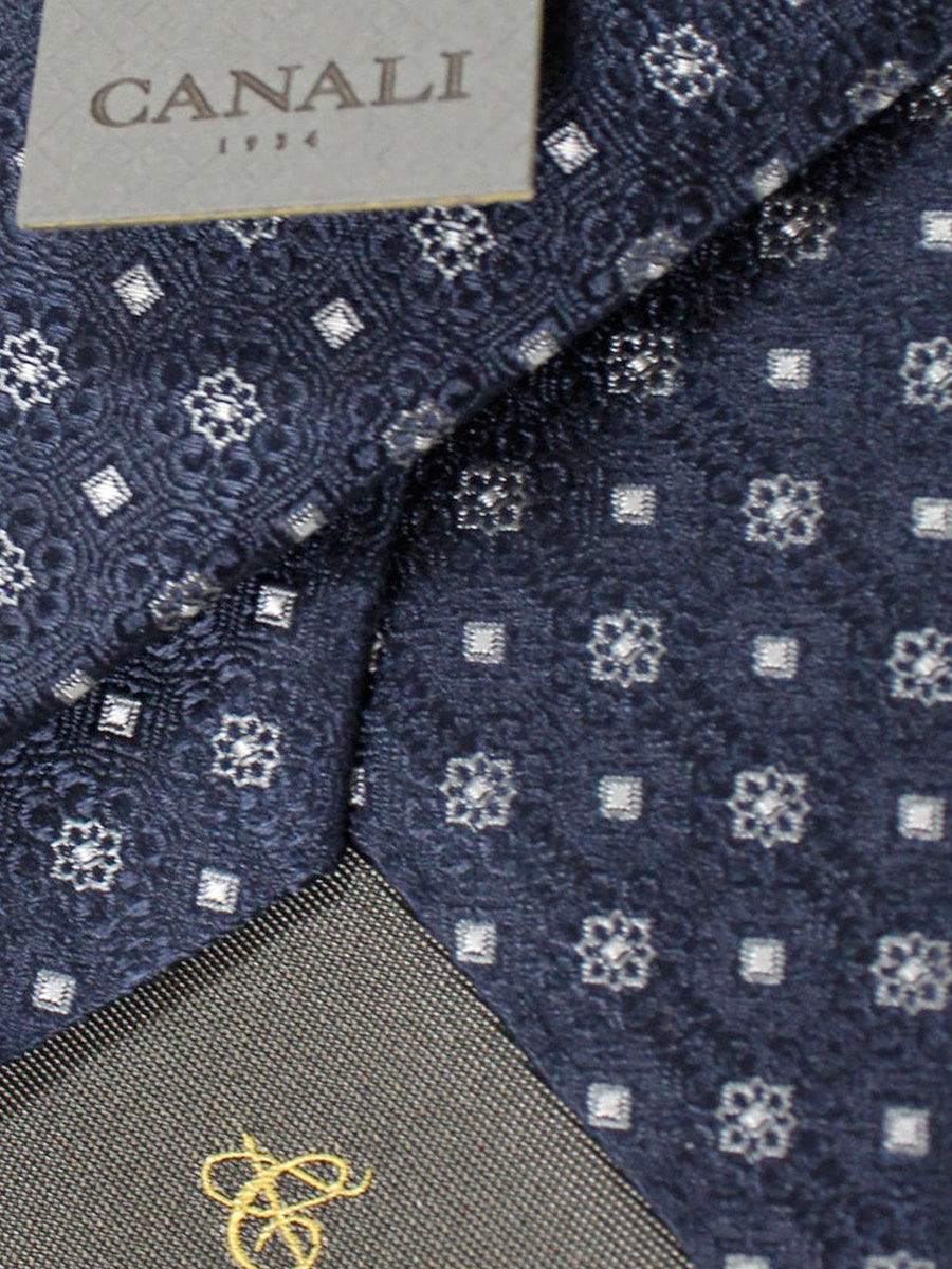 Canali Tie Black Gray Mini Flowers