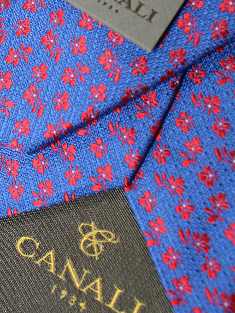 Canali Silk Necktie Royal Red Floral