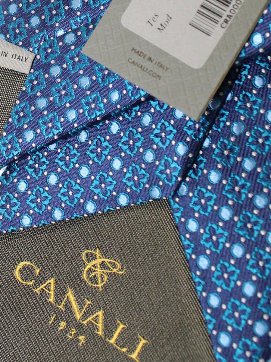 Canali Silk Necktie Navy Turquoise Silver Geometric