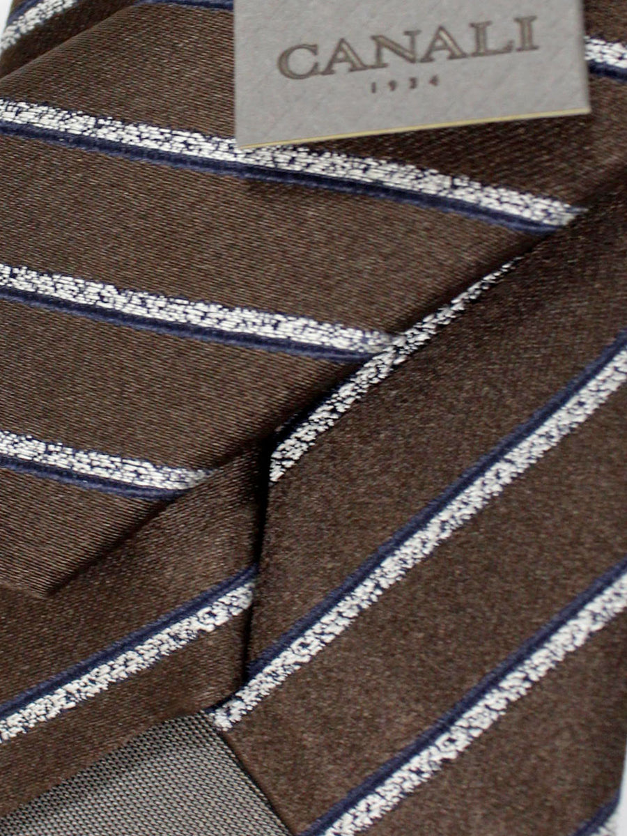 Canali Tie Brown Gray Stripes