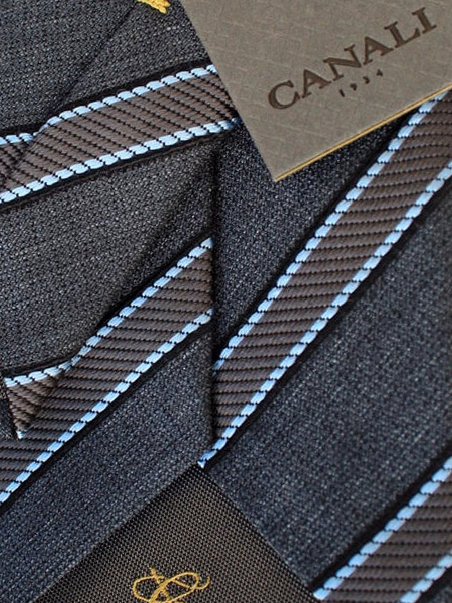 Canali Tie Gray Sky Blue Stripes