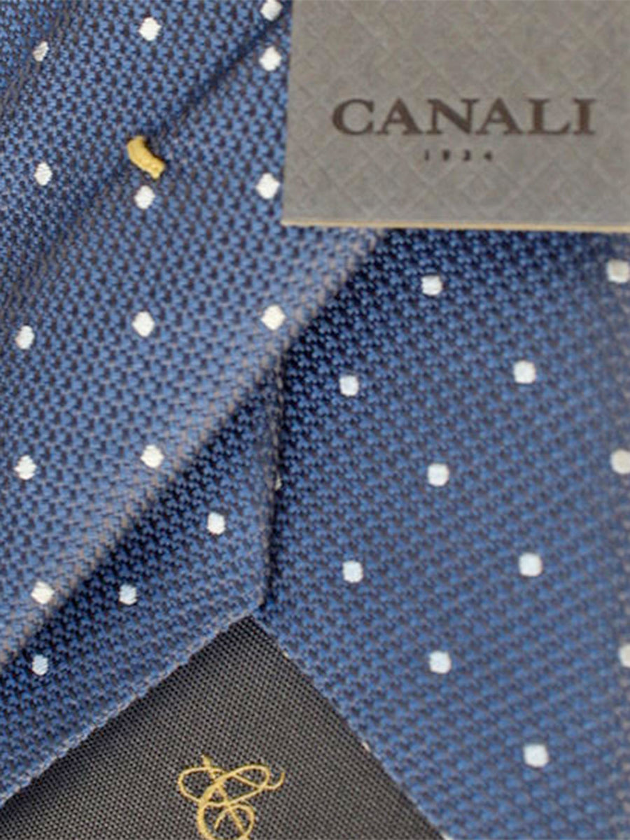 Canali Tie Blue Gray White Dots