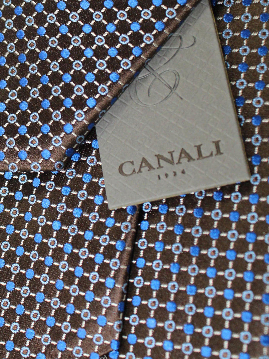 Canali Silk Tie Brown Red Geometric