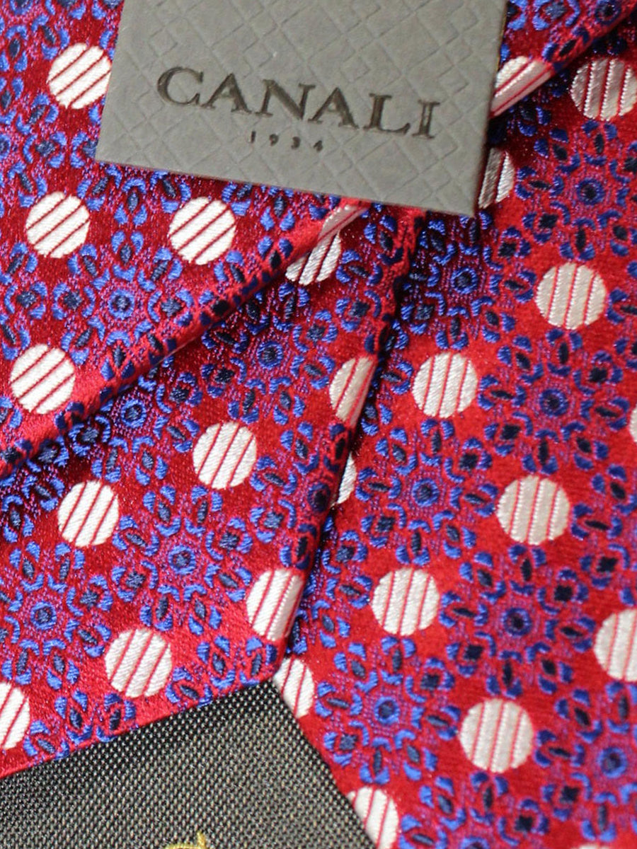 Canali Silk Tie Red Royal Blue Polka Dots