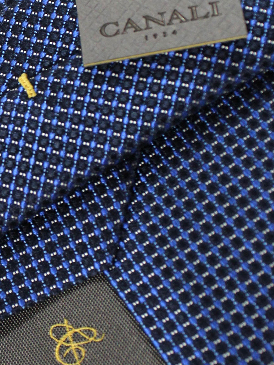 Canali Tie Navy Royal Silver Check