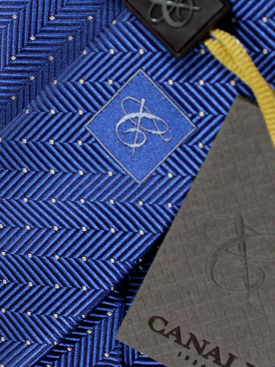Canali Tie Royal Navy Silver Herringbone