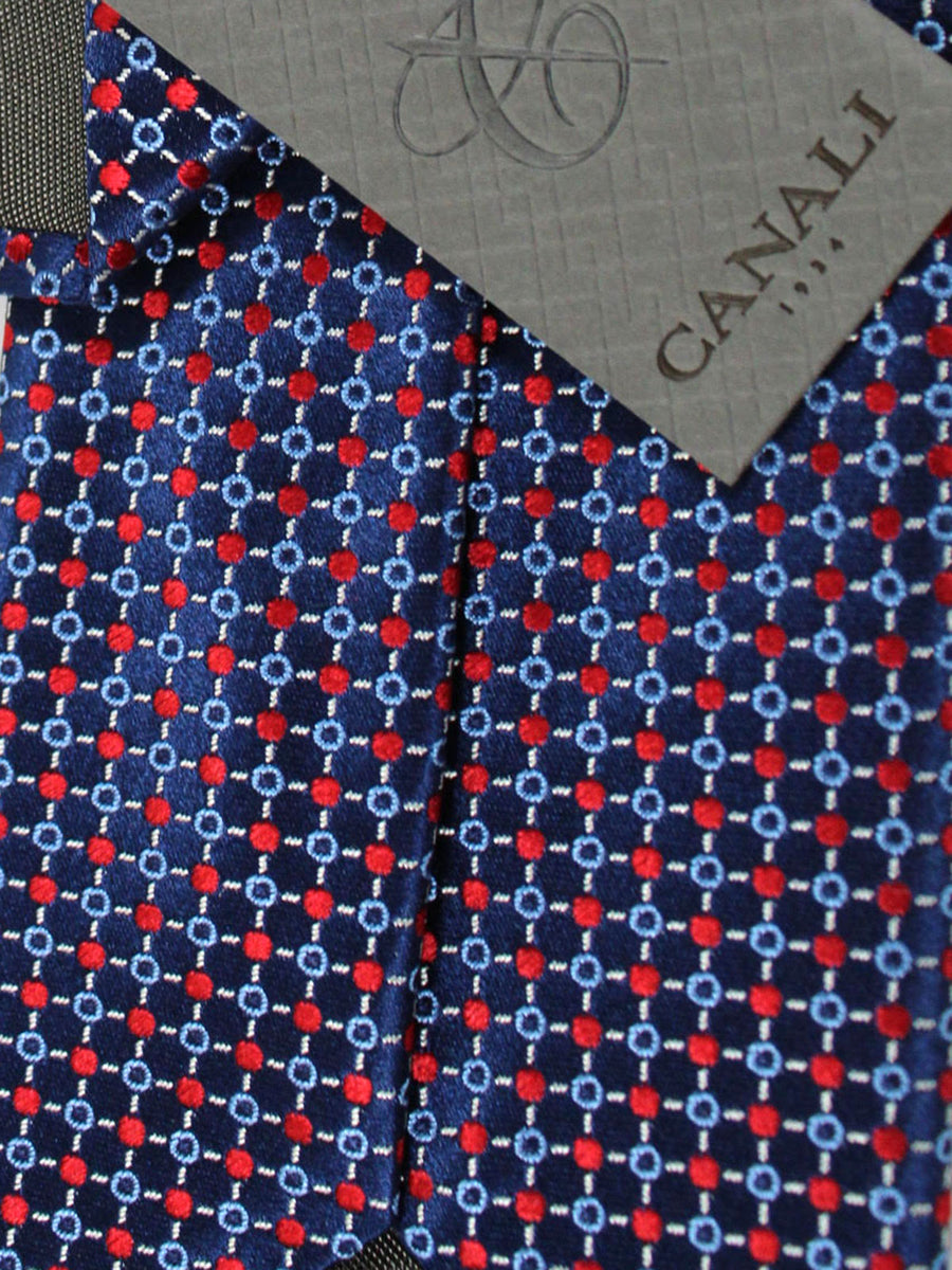 Canali Tie Navy Blue Red Geometric