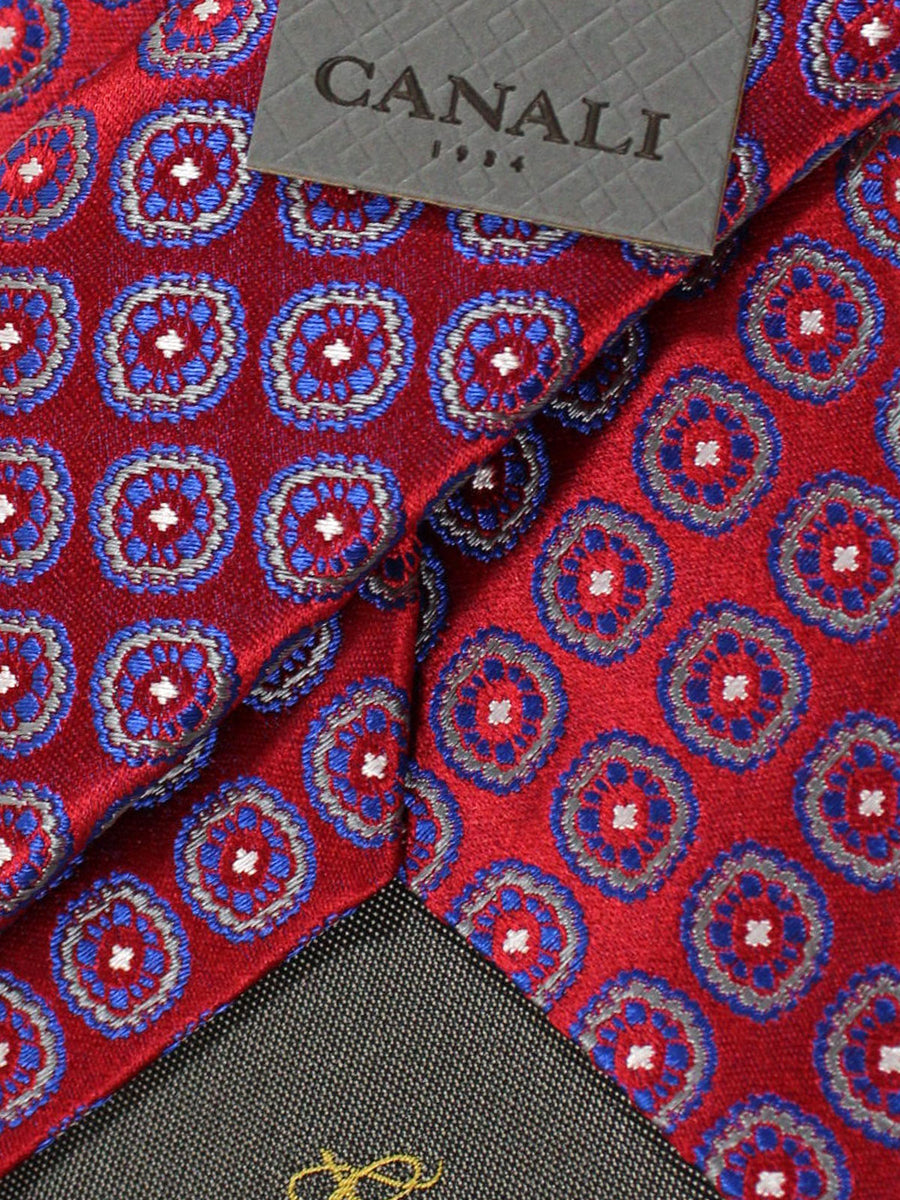 Canali Tie Burgundy Royal Blue Medallions