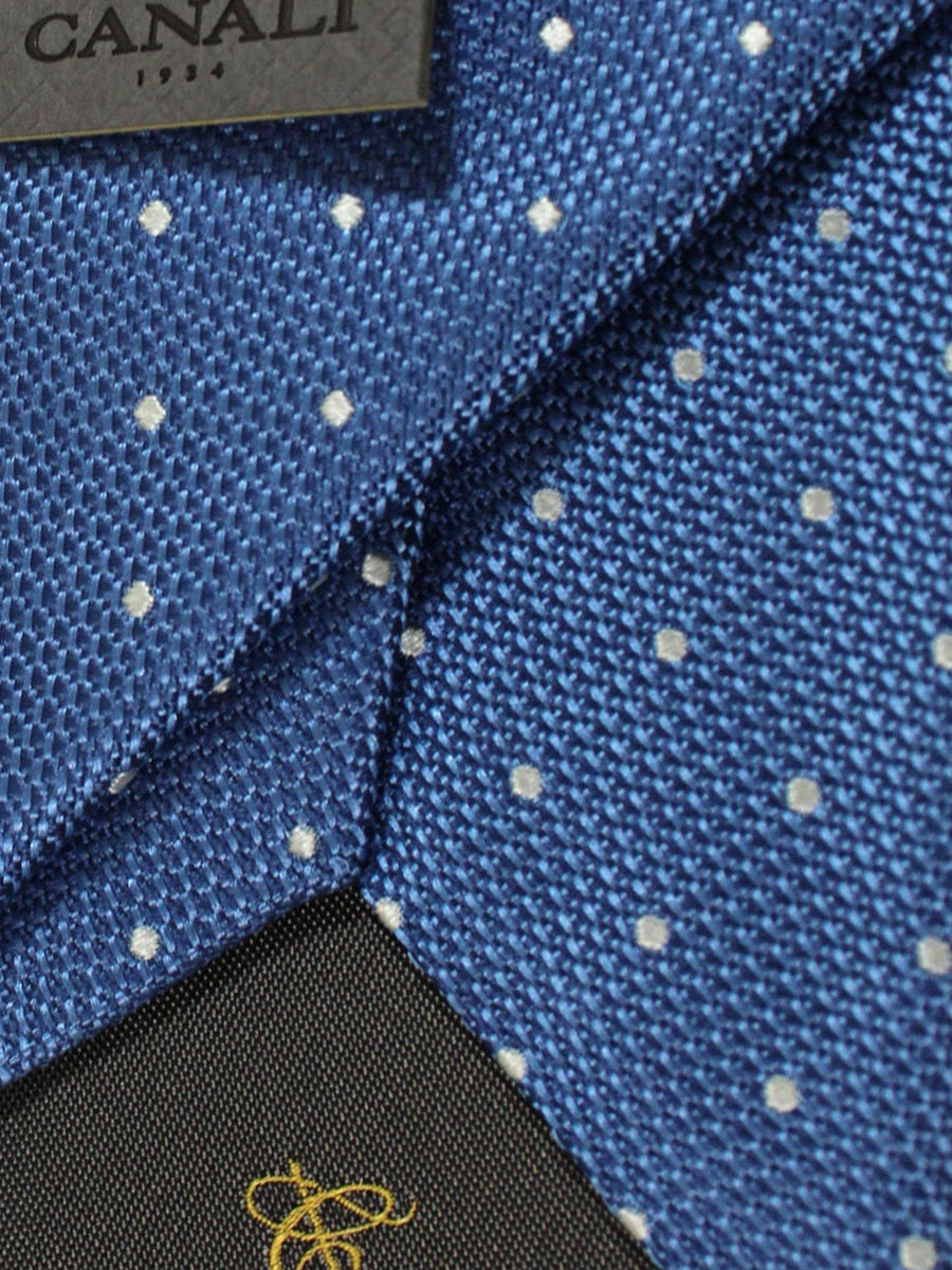 Canali Tie Blue Silver Circles