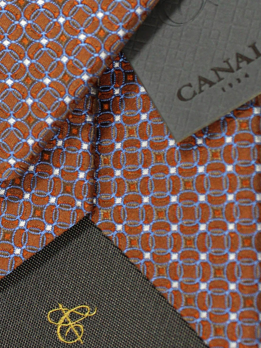 Canali Tie Rust Brown Periwinkle Geometric