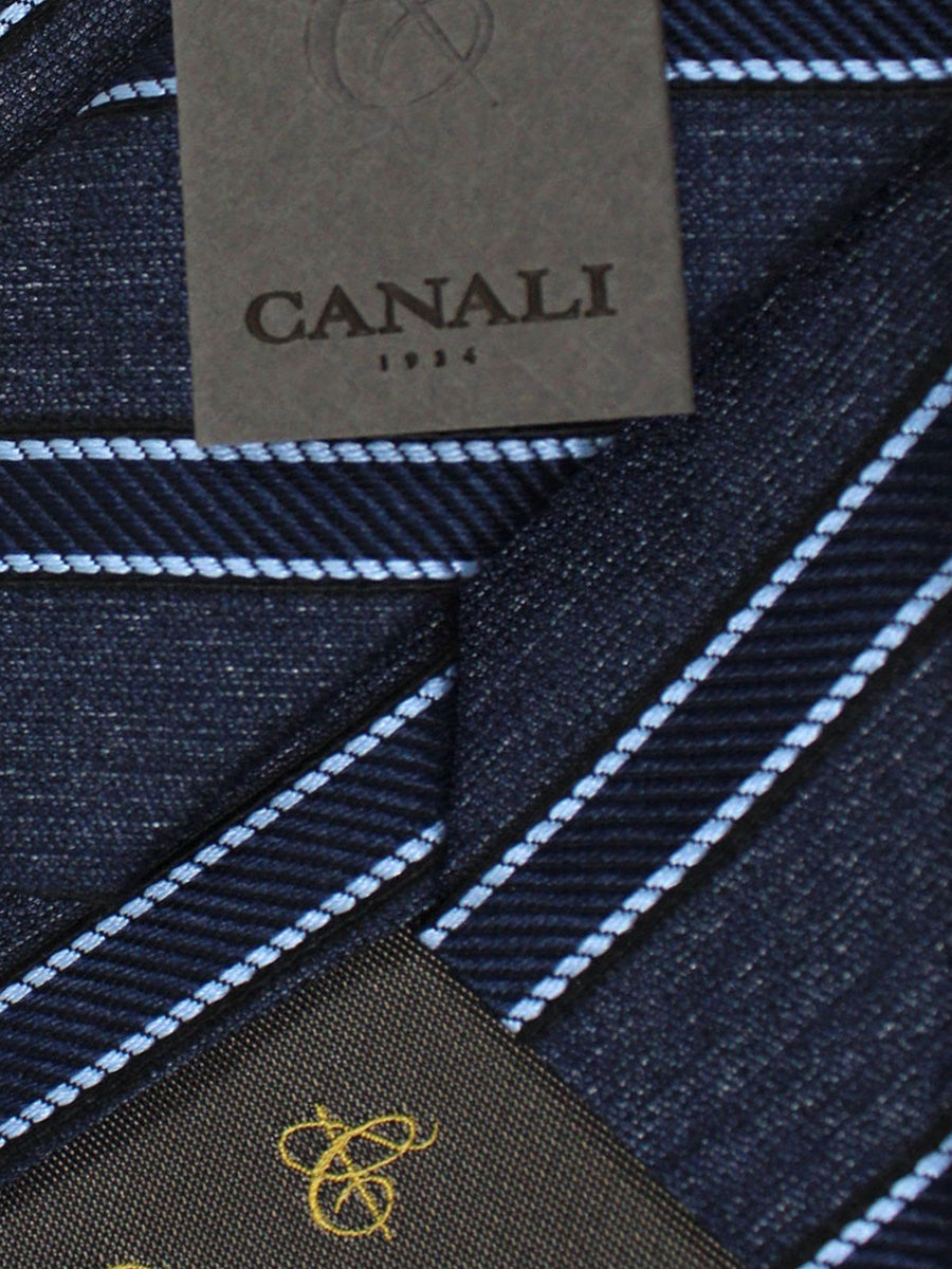 Canali Tie Blue Black Stripes