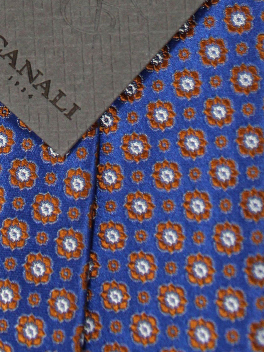 Canali Tie Purple Rust Orange Silver Geometric