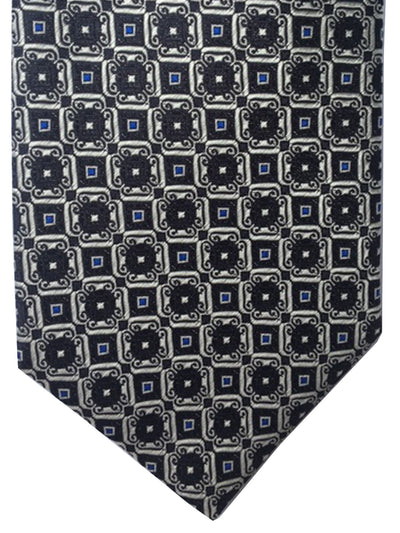 Canali Silk Tie Black Cream Blue Medallions