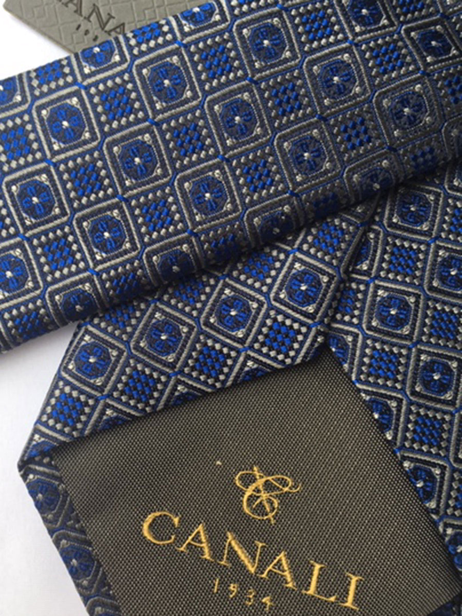 Canali Silk Tie Navy Gold Geometric