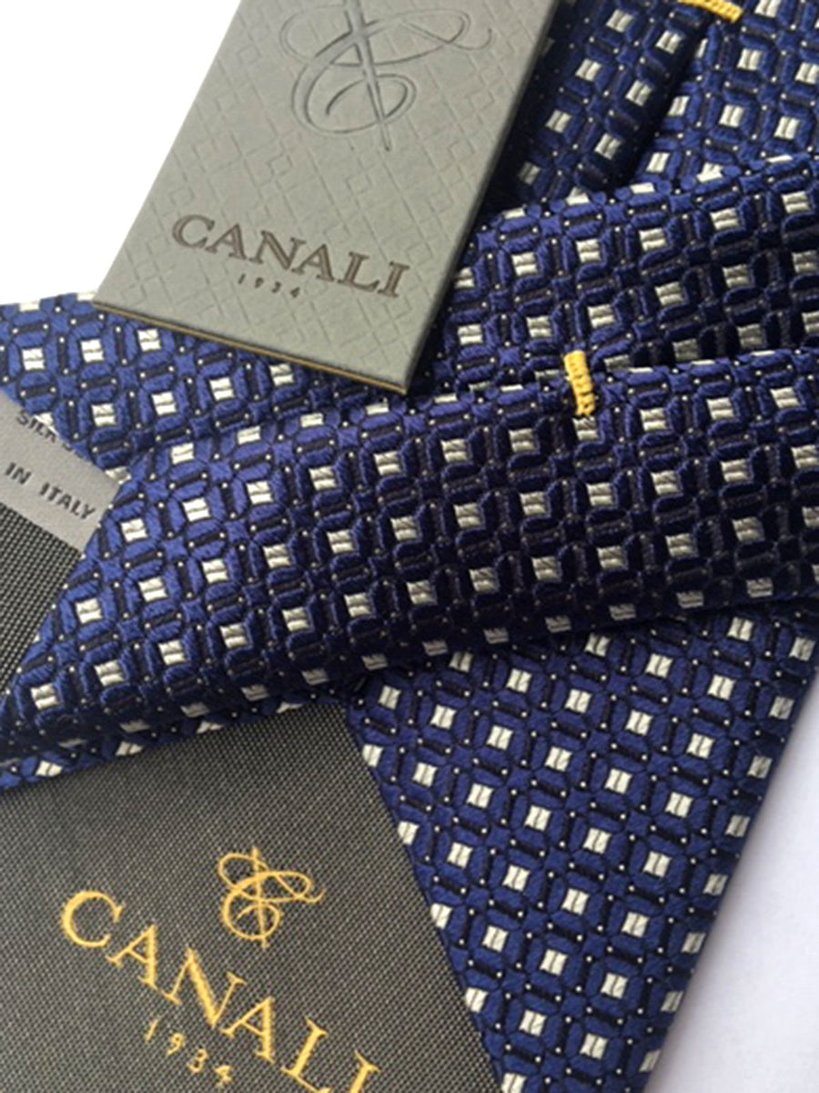 Canali Silk Tie Navy Cream Geometric