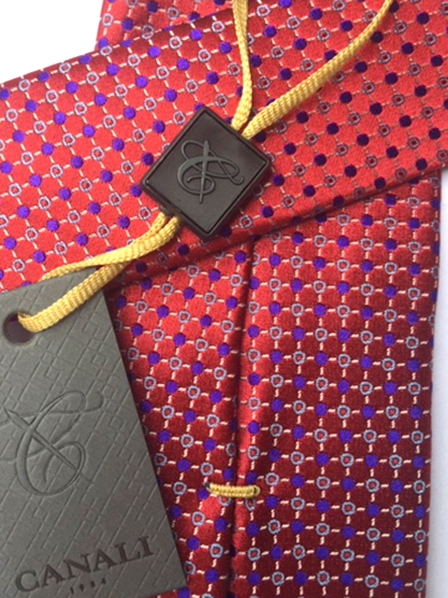 Canali Silk Tie Dark Red Lavender Geometric
