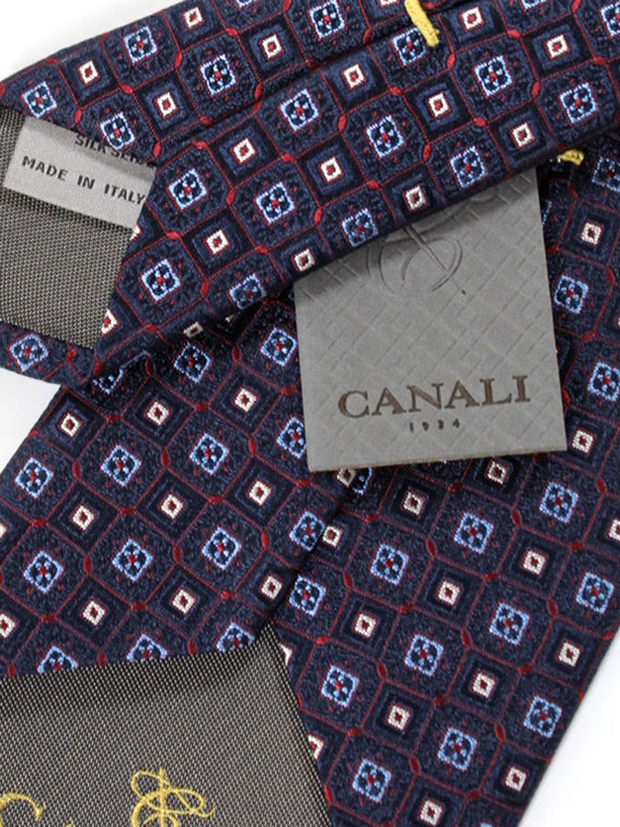 Canali Silk Tie Dark Navy Red Blue Geometric