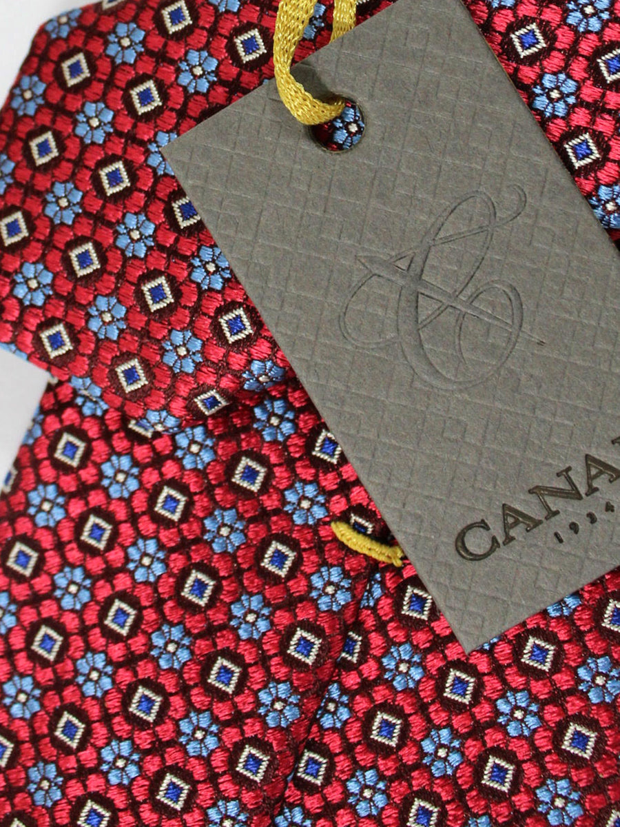 Canali Silk Tie Red Blue Floral Design