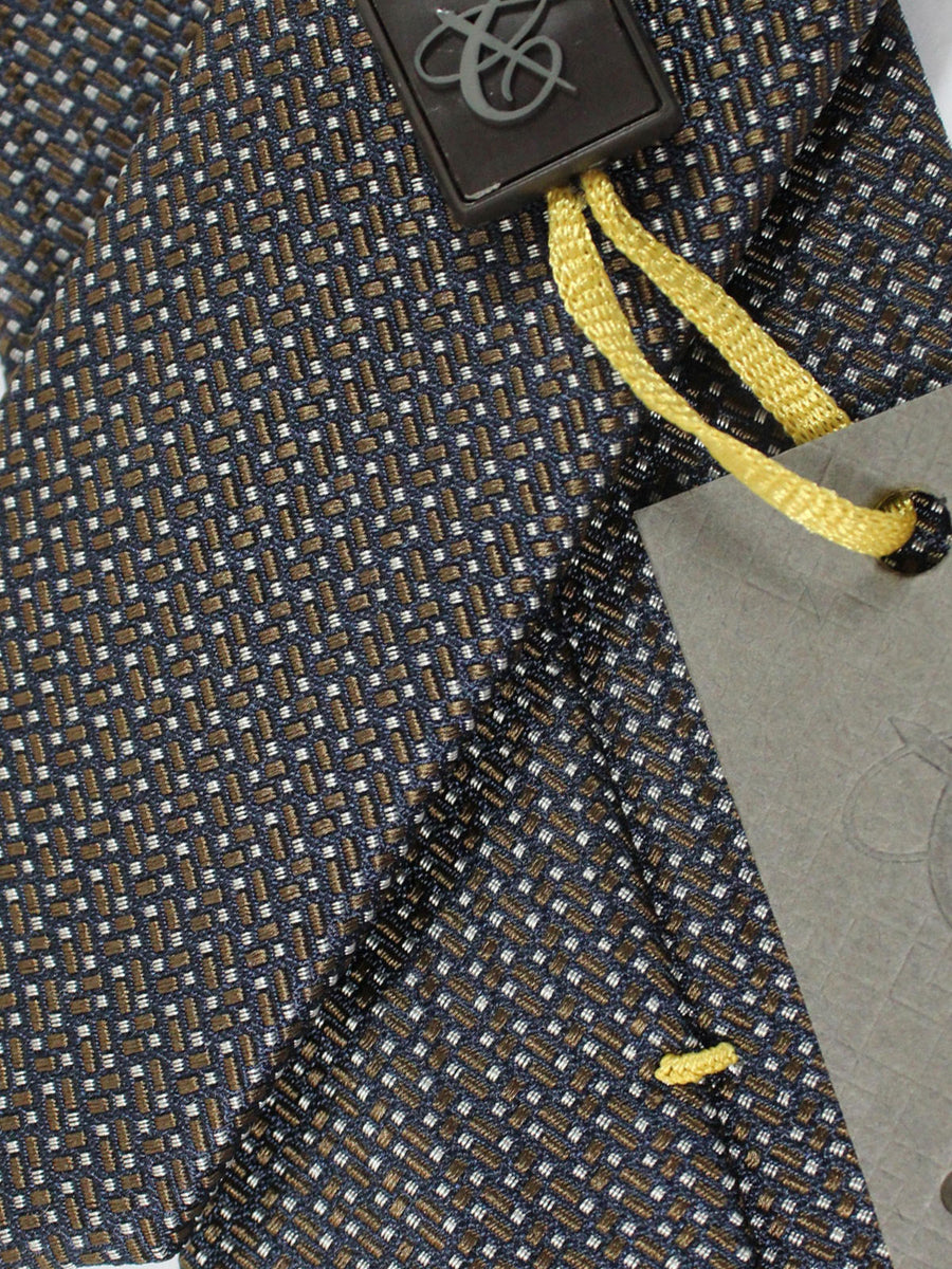 Canali Silk Tie Black Brown Silver Geometric Design
