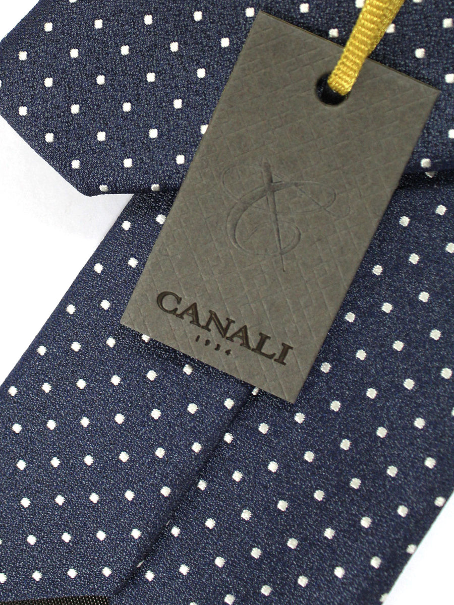Canali Silk Tie Dark Blue Silver Dots Design