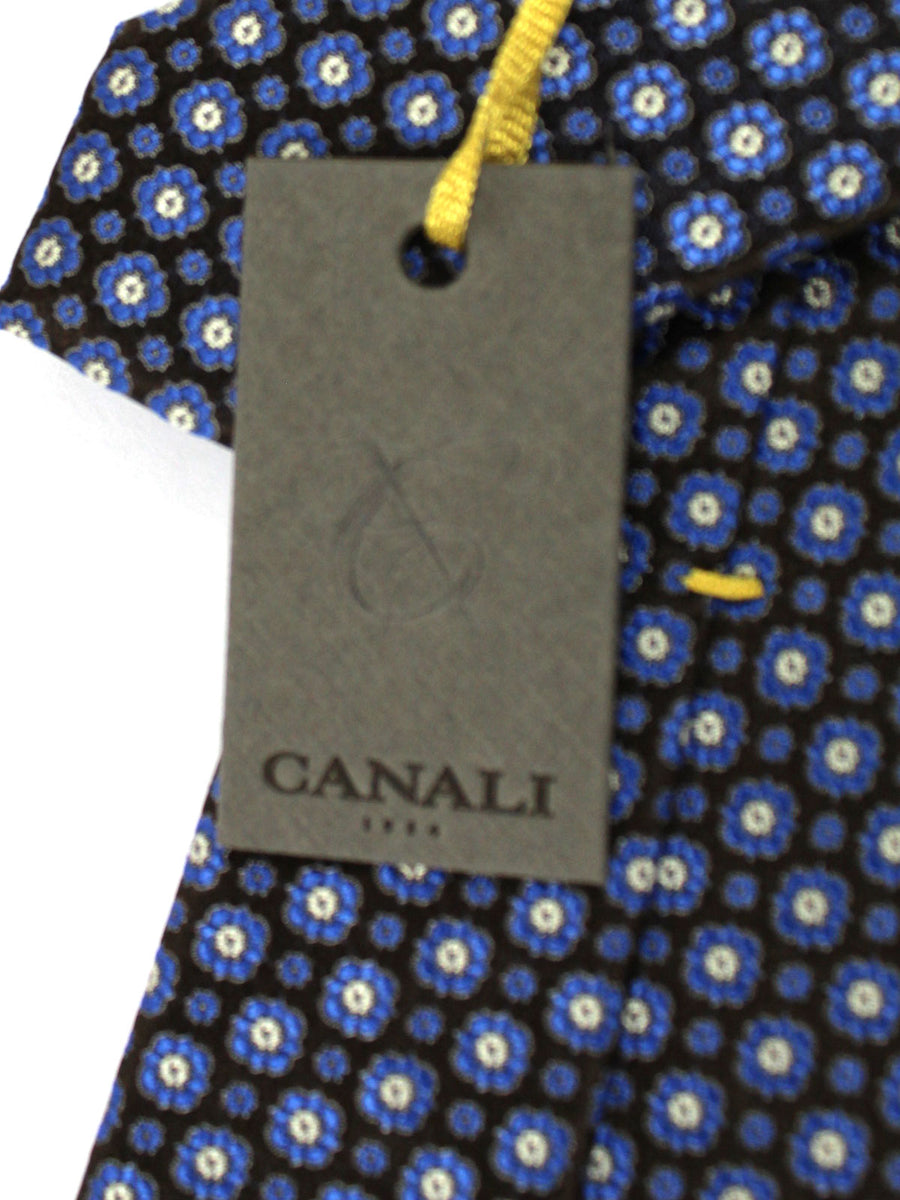 Canali Silk Tie Brown Royal Blue Floral Design