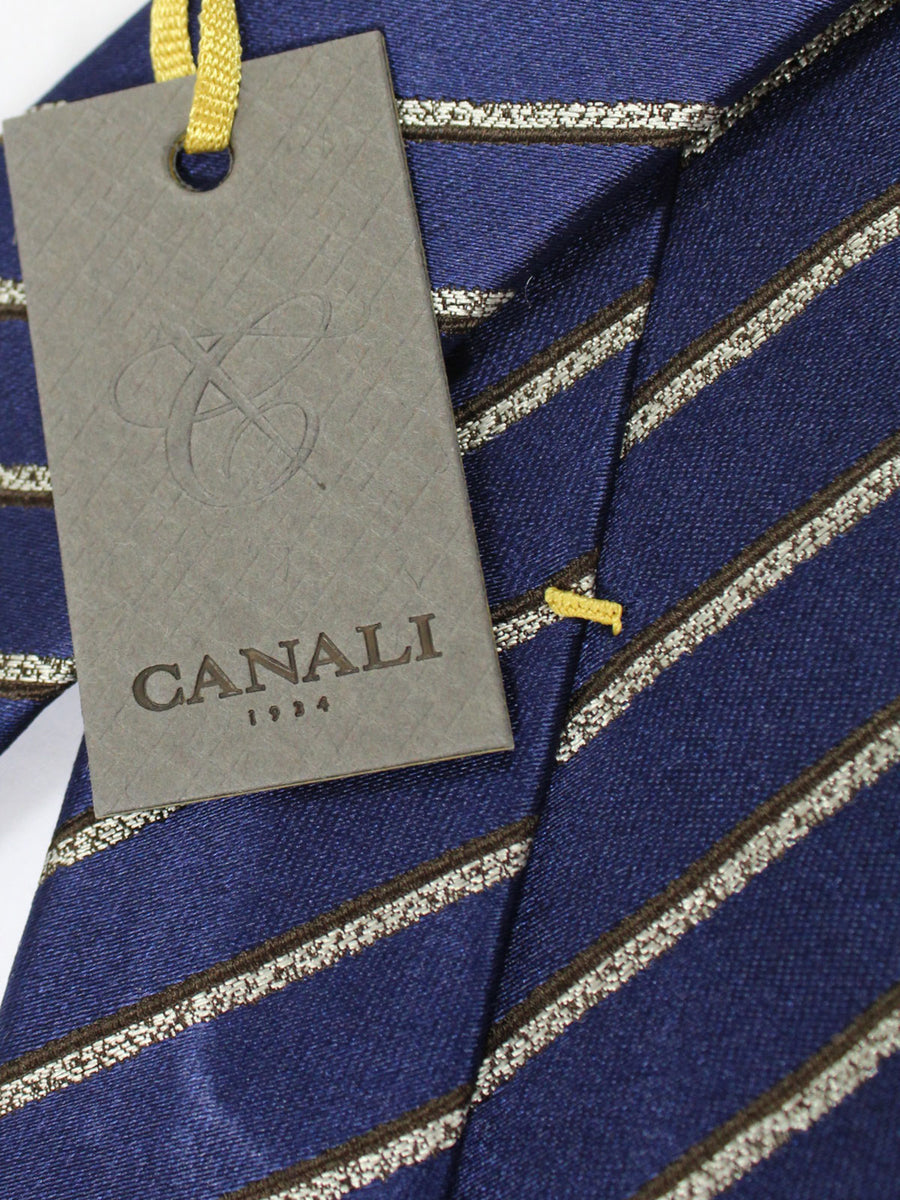 Canali Silk Tie Dark Navy Brown Gray Stripes Design